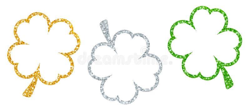 Установите зеленого цвета серебра золота 3 кадр Shamrocks сверкная иллюстрация штока