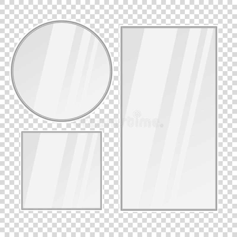установите зеркал вектора реалистических с отражением иллюстрация вектора