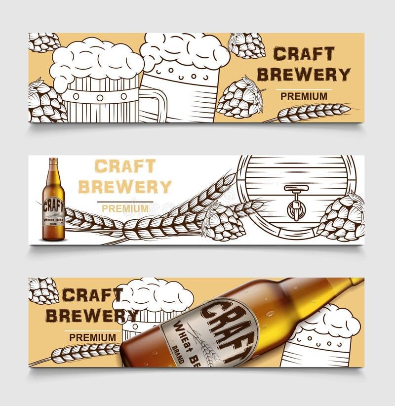 Установите знамен вектора винзавода пива винтажных с пивом и хмелями плакат карты пива, напитка алкоголя эскиза вектор иллюстрация штока