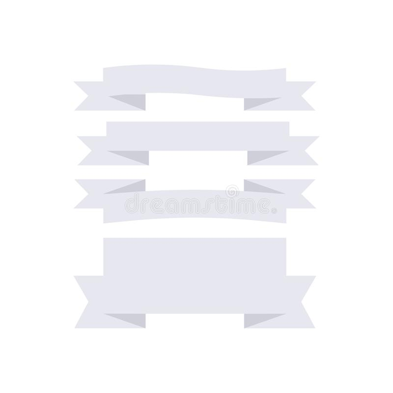 Установите знамен и значков ленты на белой границе значка предпосылки бесплатная иллюстрация