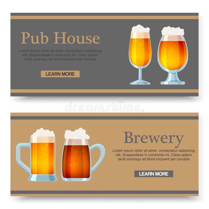 Установите знамен мультфильма вектора со стеклами пива для бара, паба, beershop или винзавода Эль и темное пиво m иллюстрация вектора