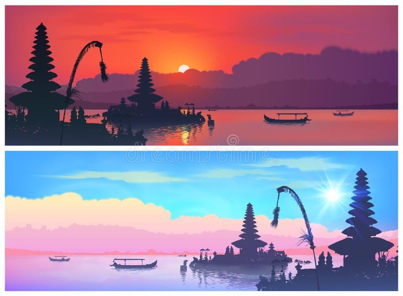 Установите знамен перемещения вектора с балийскими ландшафтами традиционных силуэтов виска Бали и шлюпок рыболова дальше иллюстрация вектора