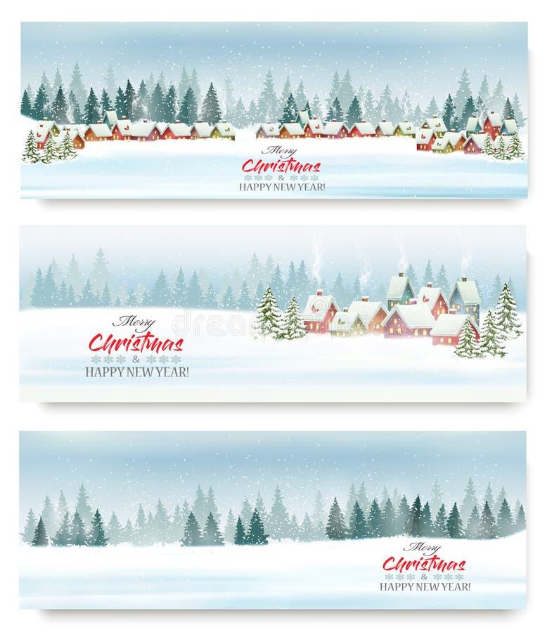 Установите знамен рождества праздника с деревней зимы бесплатная иллюстрация