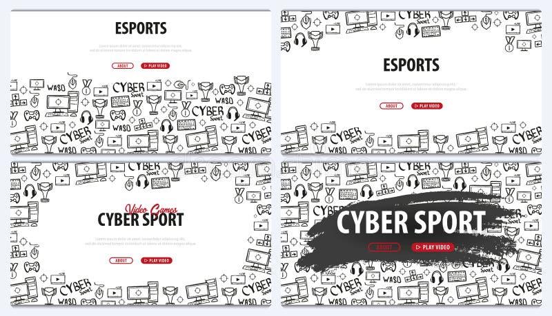 Установите знамен спорта кибер Игра Esports Видеоигры Live течь спичка игры также вектор иллюстрации притяжки corel иллюстрация вектора