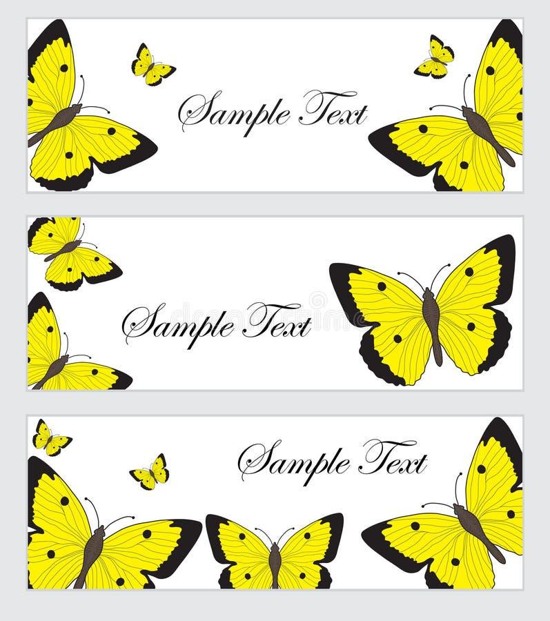 Установите знамя бабочек Шаблон знамени с бабочками Покрашенное знамя бабочки также вектор иллюстрации притяжки corel иллюстрация вектора