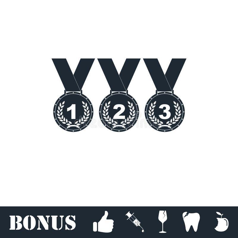 Установите значка бронзовых медалей золота серебряного плоско бесплатная иллюстрация