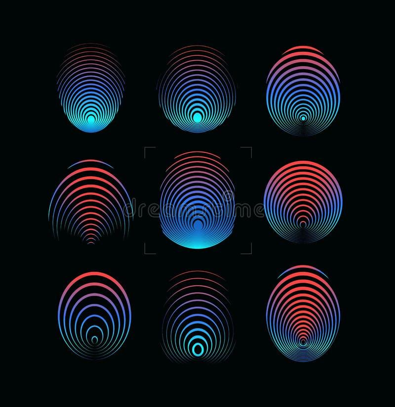 Установите значка вектора отпечатка пальцев Круглый цифровой символ отпечатка пальцев Шаблон логотипа системы безопасности Голубо иллюстрация вектора