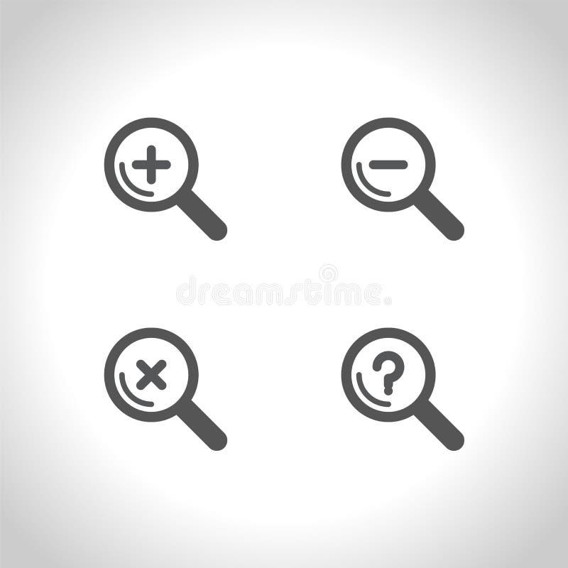 Установите значка знака увеличителя стеклянного Кнопка инструмента сигнала иллюстрация вектора