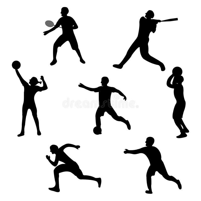 Установите значка игрока Черный ярлык спорта силуэта на белой предпосылке Стиль характера простой r иллюстрация вектора
