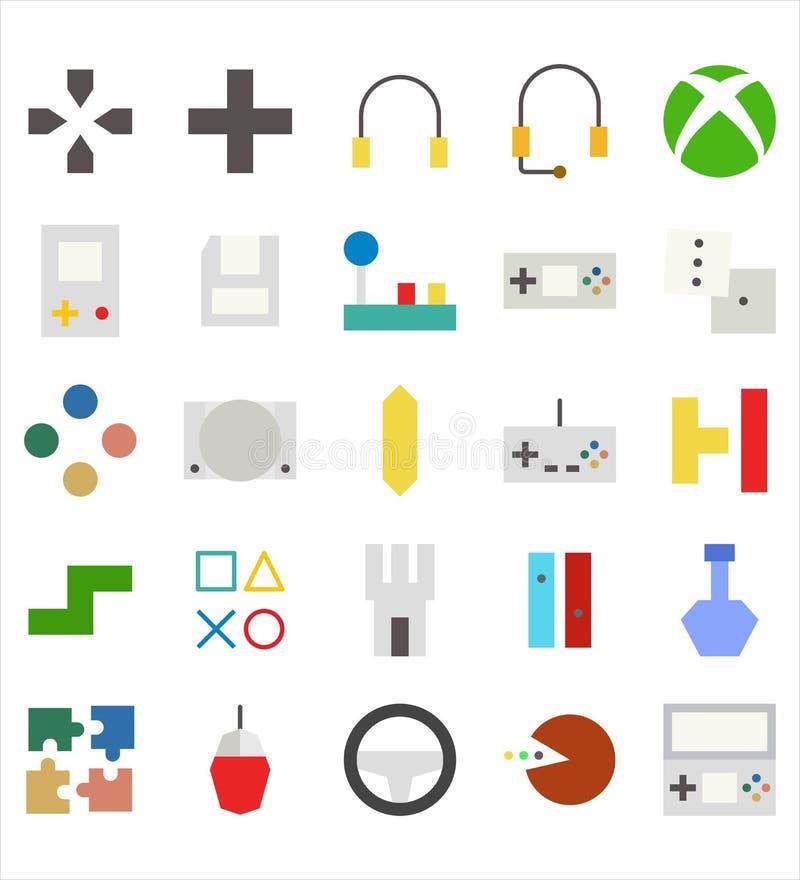 Установите значка или иллюстрации вектора видеоигры плоских r иллюстрация штока