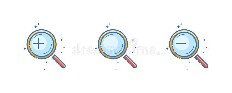 Установите значка лупы Дизайн иллюстрации вектора плоско линейный бесплатная иллюстрация
