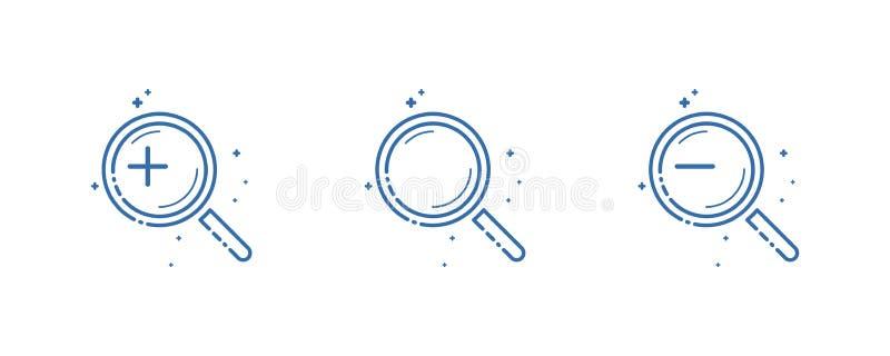 Установите значка лупы Дизайн иллюстрации вектора плоско линейный иллюстрация вектора