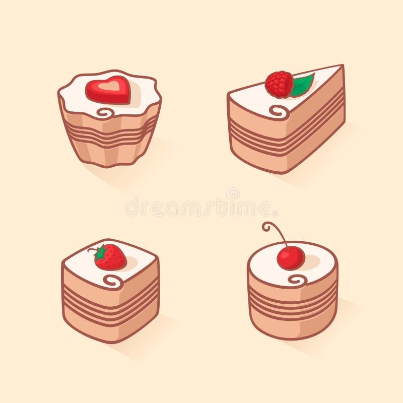 Установите значка торта иллюстрация штока