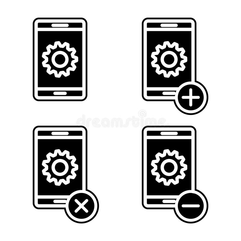 установите значка установок смартфона Элемент телефона для мобильных концепции и значка приложений сети Глиф, плоский значок для  иллюстрация вектора
