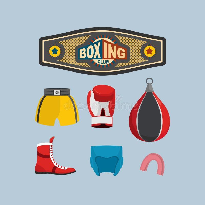 Установите значки бокса перчатки оборудования принципиальной схемы бокса шарика предпосылки градуировали ударять иллюстрация вектора