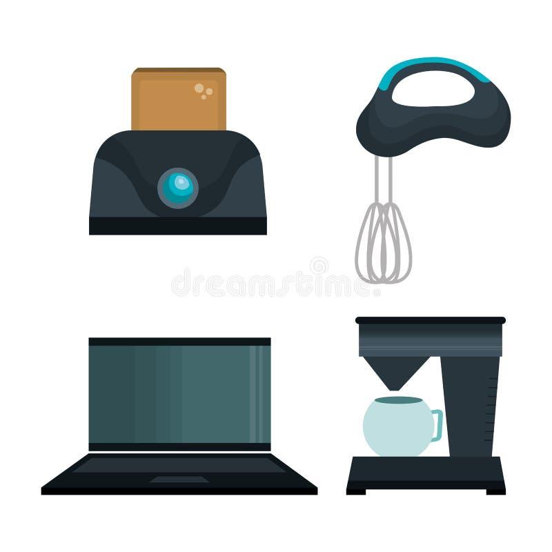 установите значки бытовых устройств бесплатная иллюстрация