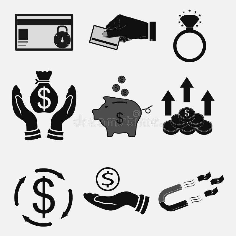 Установите значки деньги, банковские трансферы, наличные деньги иллюстрация вектора