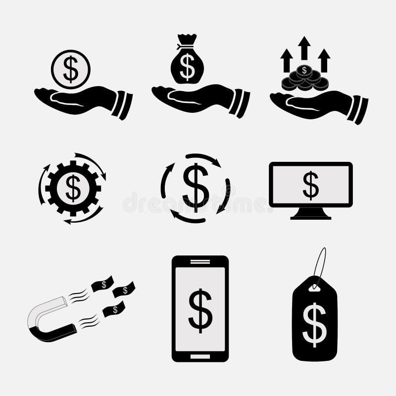 Установите значки деньги, банковские трансферы, наличные деньги иллюстрация штока