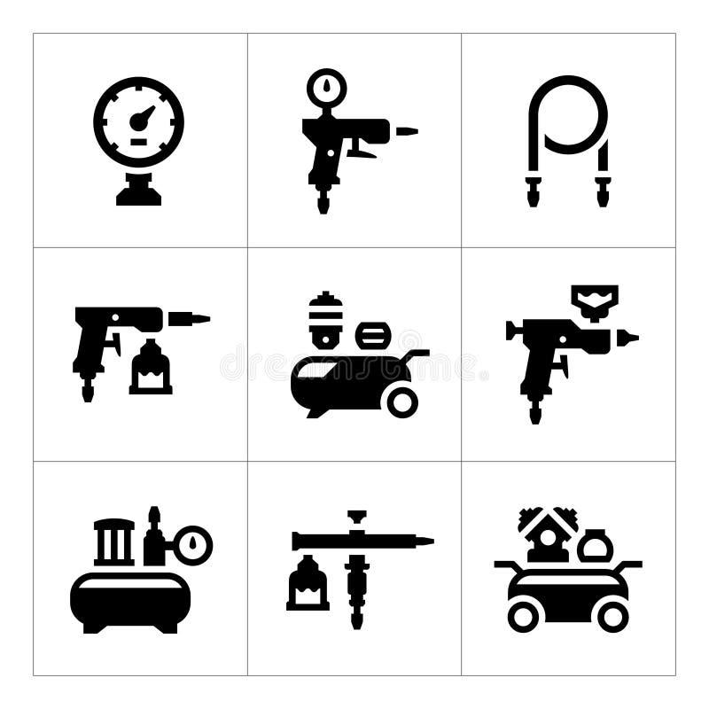Установите значки компрессора и аксессуаров бесплатная иллюстрация