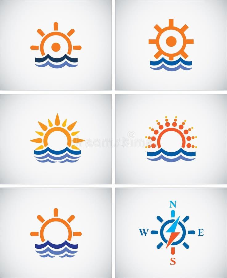 Установите значки навигации моря бесплатная иллюстрация