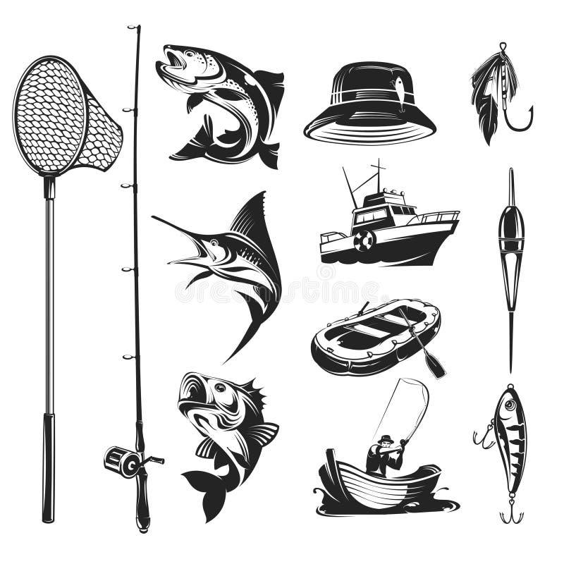 Установите значки на теме рыбной ловли иллюстрация вектора