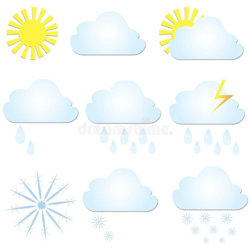 Установите значки погоды вектора Солнце, облако, дождь и снег иллюстрация вектора