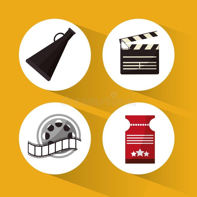 Установите значки символа концепции кино бесплатная иллюстрация