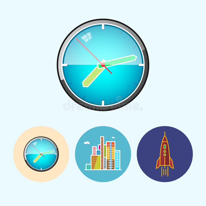 Установите значки с настенными часами, здания, ракету иллюстрация вектора