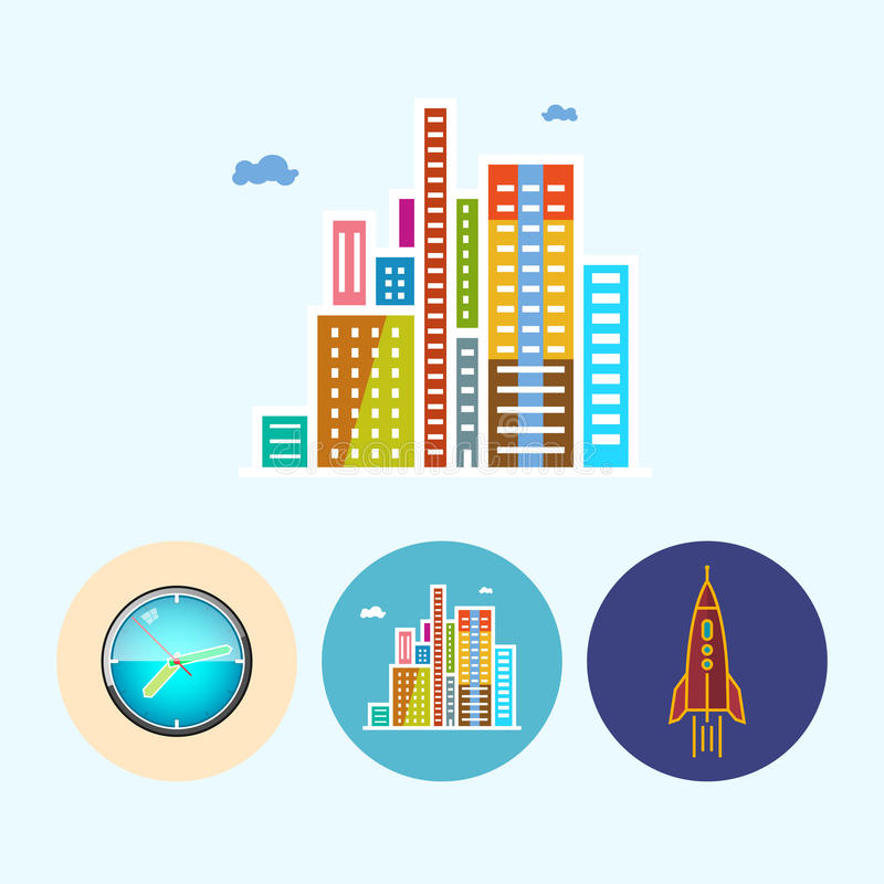 Установите значки с покрашенными настенными часами, современные здания, ракету, иллюстрацию вектора иллюстрация штока