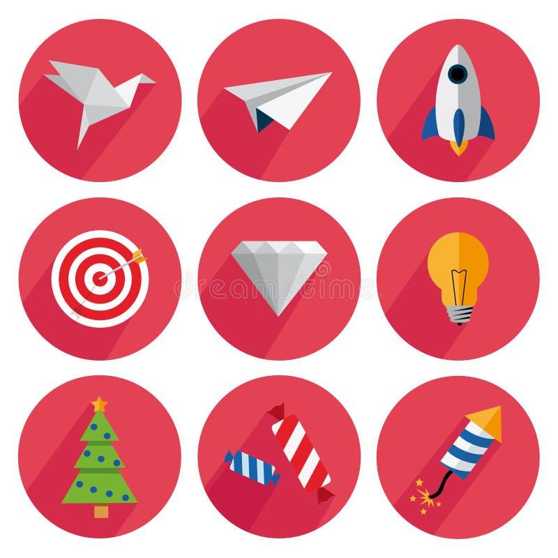 Установите значки с тенью на красной предпосылке бесплатная иллюстрация