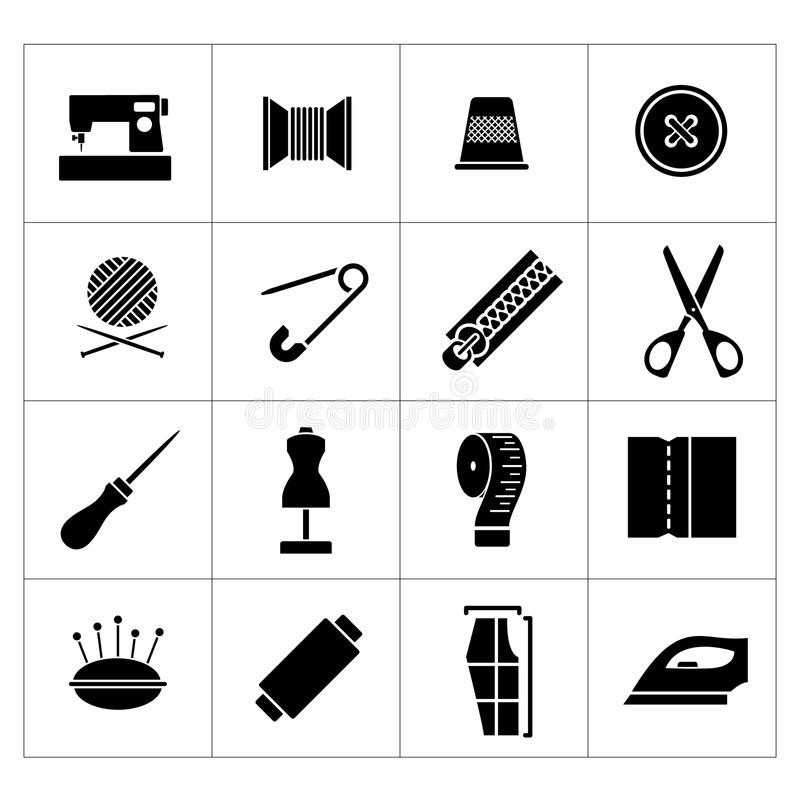 Установите значки шить бесплатная иллюстрация
