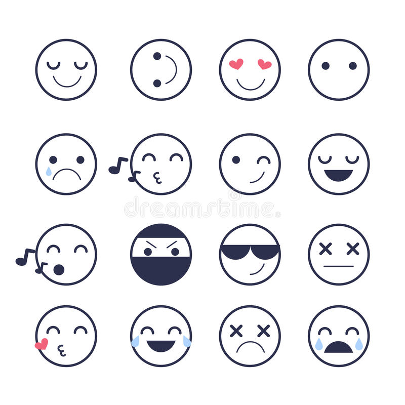 Установите значки Smiley для применений и болтовни Смайлики с различными эмоциями изолированные на белой предпосылке бесплатная иллюстрация