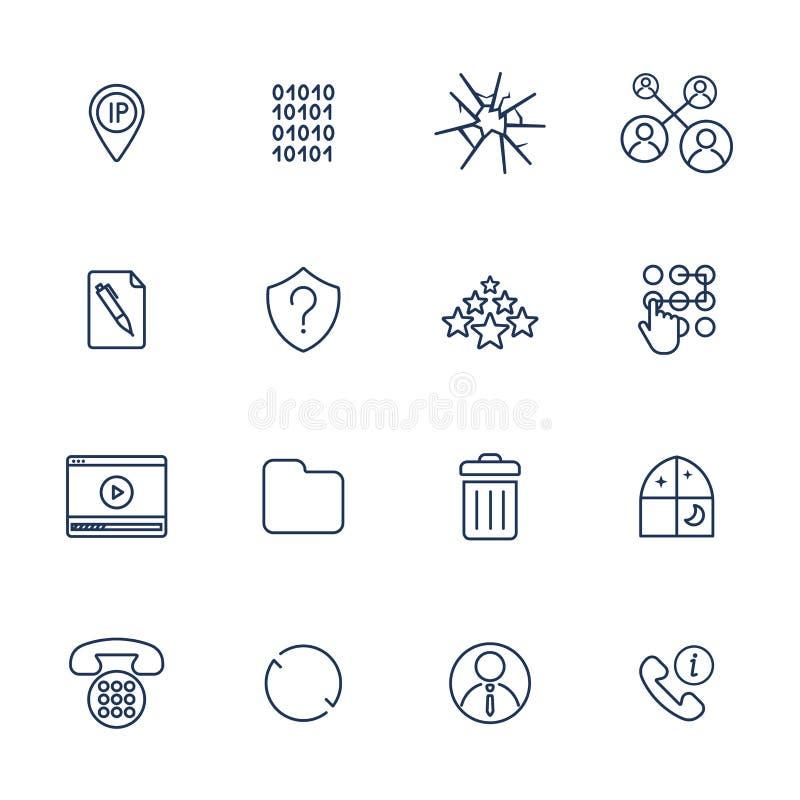 Установите 16 значков вектора для программного обеспечения, применения или вебсайтов - социальные средства массовой информации и  иллюстрация вектора