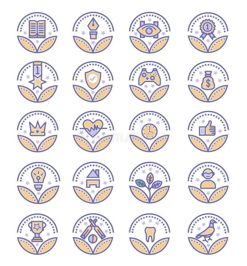 Установите значков вектора наград - знака вектора иллюстрация штока