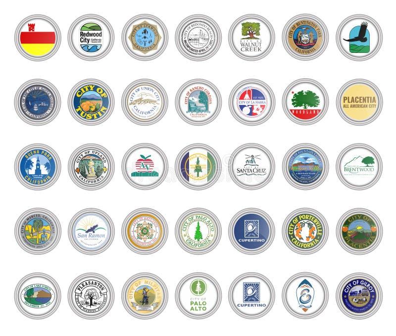 Установите значков вектора Флаги и уплотнения городов, государства Калифорния, США бесплатная иллюстрация