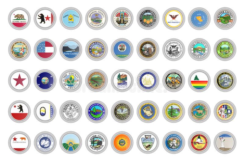 Установите значков вектора Флаги и уплотнения государства Калифорния, США иллюстрация вектора