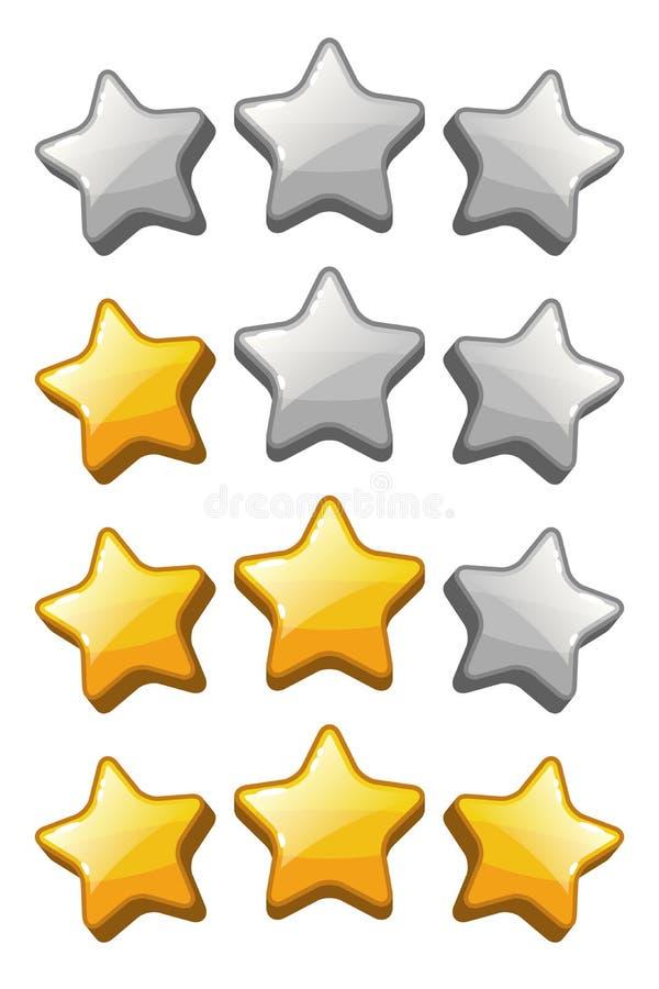 Установите значков звезды классифицируя для интерфейса игры иллюстрация вектора