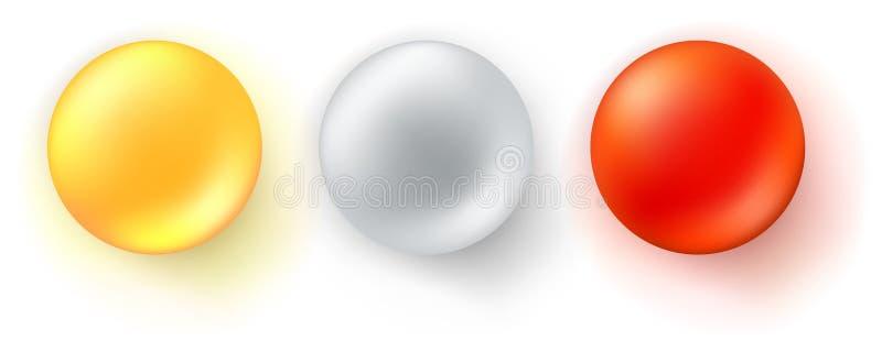 Установите значков лоснистых шариков Реалистические трехмерные сферы изолированные на белой предпосылке Красный, желтый и металли иллюстрация штока