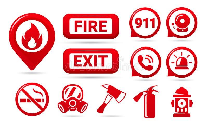 Установите значков пожарной безопасности r Символы вектора иллюстрация вектора
