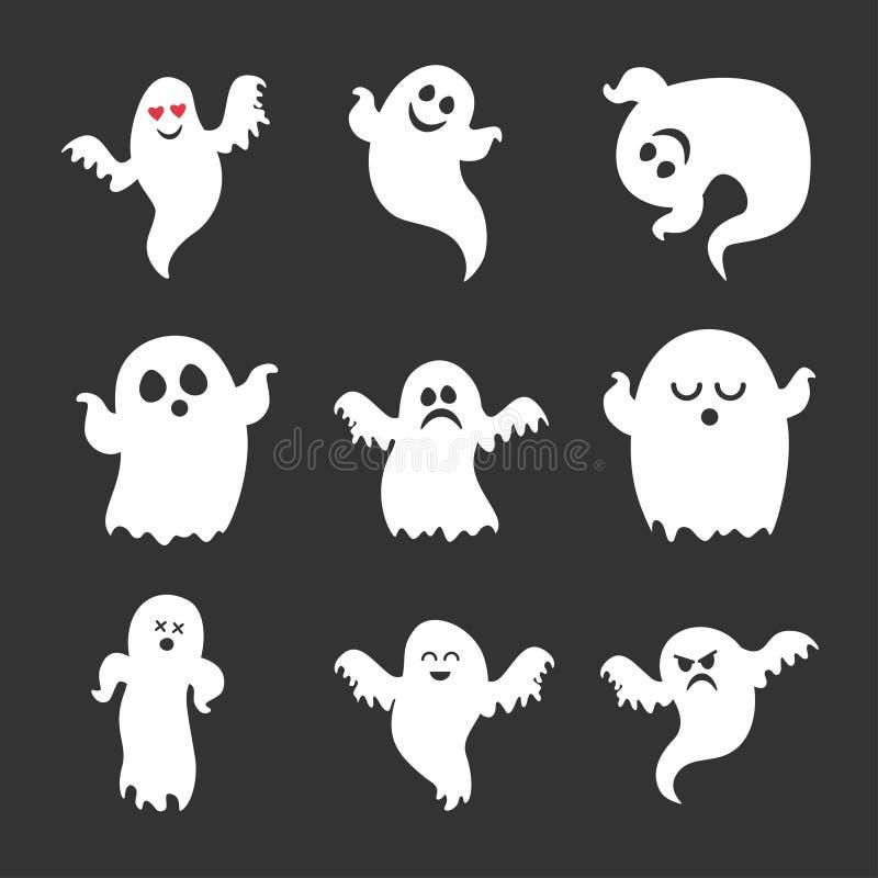 Установите значков призраков хеллоуина вектора милых иллюстрация штока