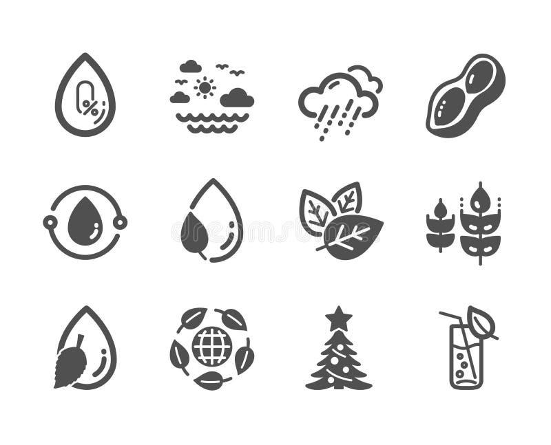 Установите значков природы, как Холодн-отжатое масло, стекло воды, никакой алкоголь r иллюстрация штока