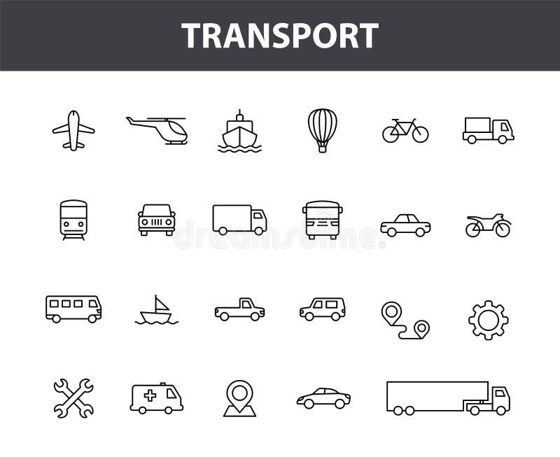 Установите 24 значков сети перехода в линии стиле Поезд, самолет, автомобиль, автобус, вертолет, велосипед r иллюстрация штока