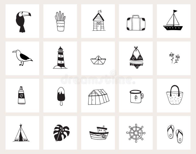 Установите значков сети doodle руки вычерченных o Лето, праздник, концепция перемещения Черно-белый дизайн : иллюстрация штока