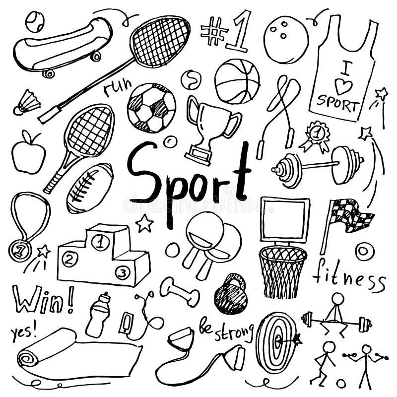 Установите значков спорта doodle руки вычерченных бесплатная иллюстрация