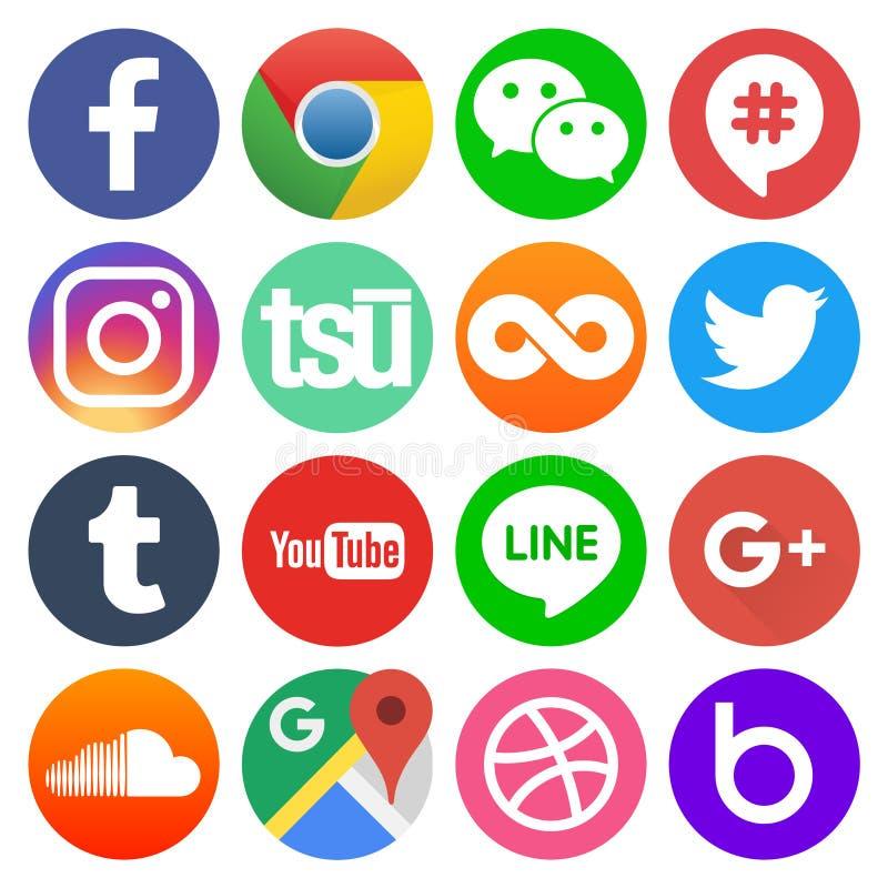 Установите значков средств массовой информации популярного круга социальных иллюстрация вектора
