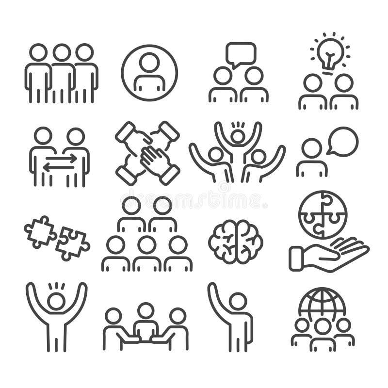 Установите значков сыгранности Коллективно обсуждать творческую команду для дела, план концепции управления изолированный на бело иллюстрация вектора