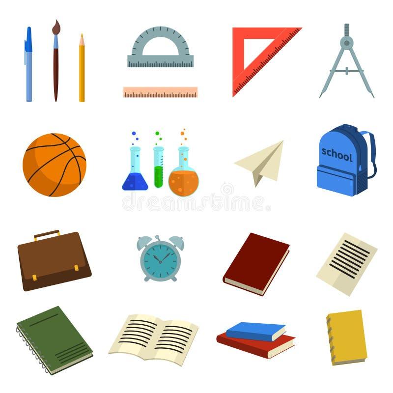 Установите значков с элементами школы на возвращении в школа первое -го сентябрь в плоском стиле в иллюстрации вектора цвета иллюстрация вектора