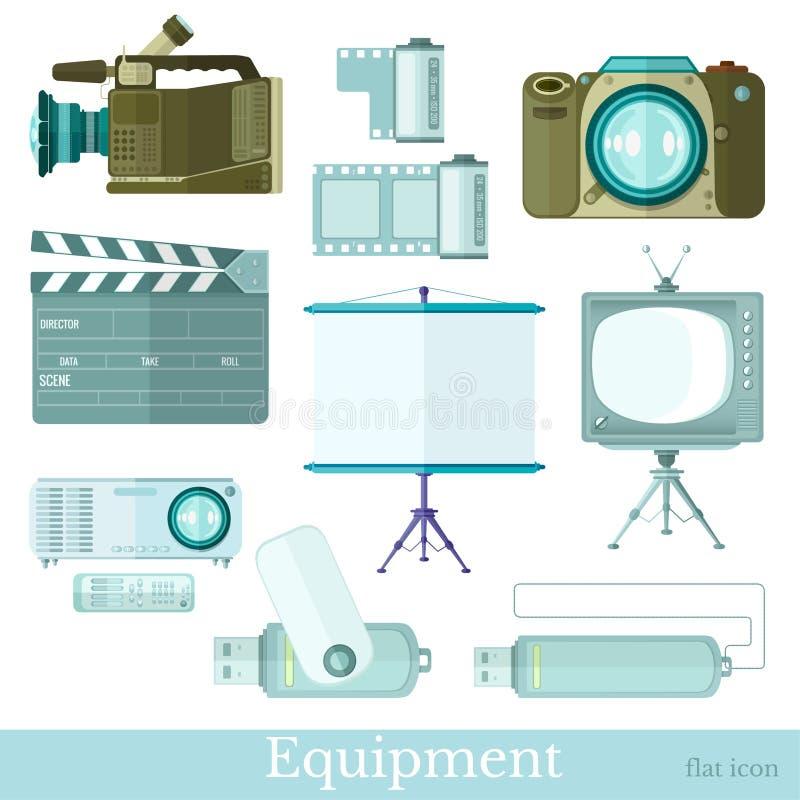 Установите значков технологии плоских на белизне камера, телевидение, внезапный привод, экран, видеокамера, камера фото, clapperb иллюстрация вектора