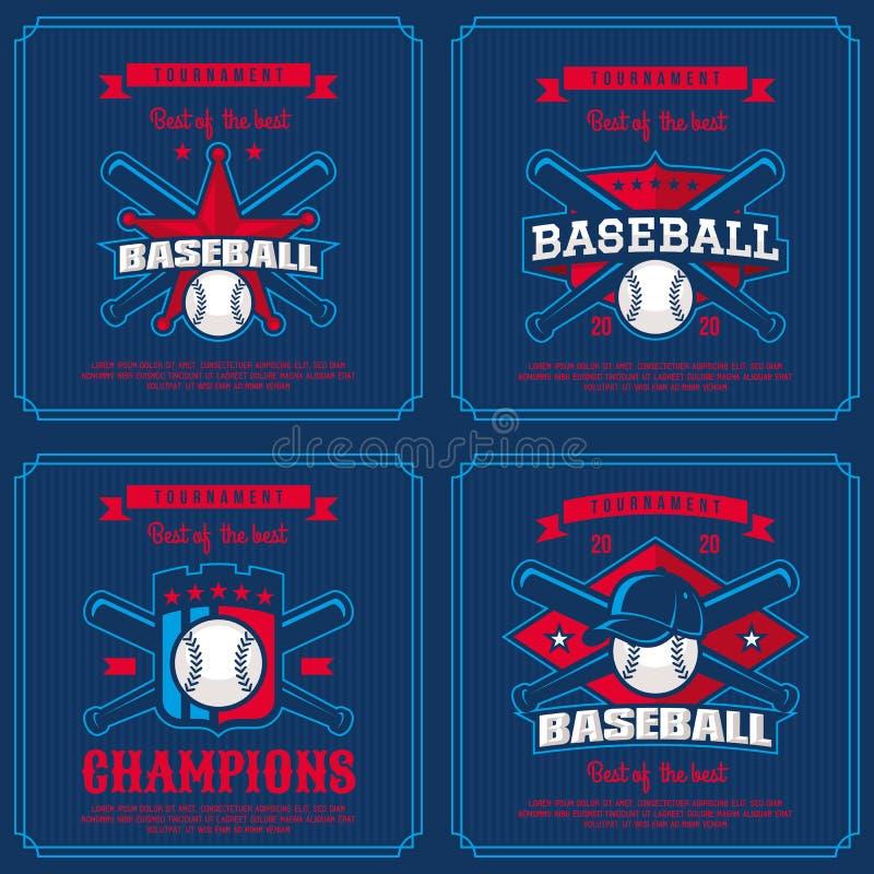 Установите значок бейсбола, логотип, турнир эмблемы бесплатная иллюстрация