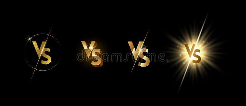 Установите золотой светить против логотипа на черной предпосылке иллюстрация вектора